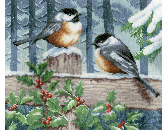 Blue Tits In Winter Cross Stitch Kit