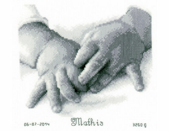 Baby Hands Cross Stitch Birth Sampler Kit