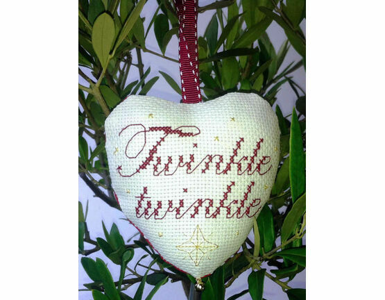 Twinkle Twinkle Padded Heart Cross Stitch Kit