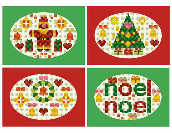 Noel Noel Cross Stitch Card Kits (Set Of 4)