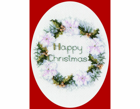 Golden Wreath Cross Stitch Christmas Card Kit