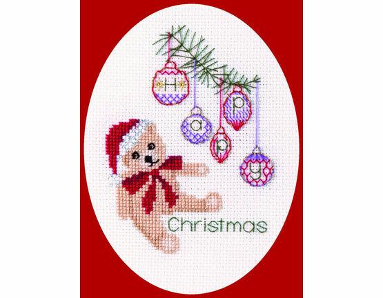 Christmas Teddy Bear Cross Stitch Card Kit