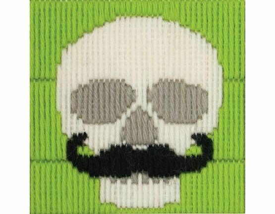 Skull With Moustache Long Stitch Kit