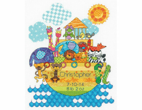 Noah's Animals Birth Record Cross Stitch Kit