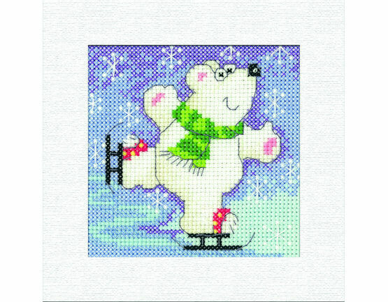 Polar Bear Square Christmas Card Cross Stitch Kit
