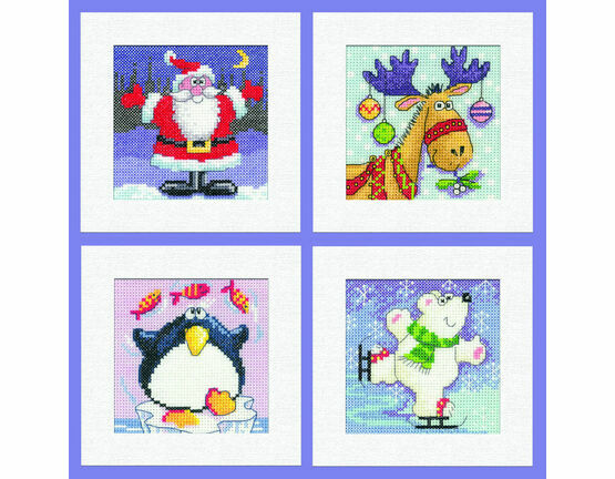Set Of 4 Square Christmas Card Cross Stitch Kits