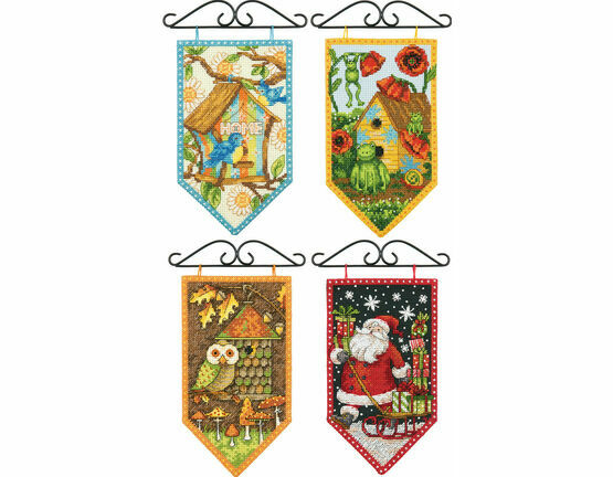 Set Of 4 Seasonal Banner Cross Stitch Kits