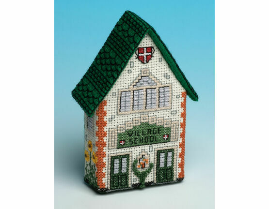School House 3D Fridge Magnet Cross Stitch Kit