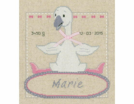 Goose With Bow Birth Record Cross Stitch Kit