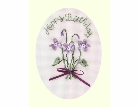 Violets Cross Stitch Card Kit