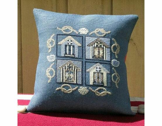 Beach House Premium Stamped Cross Stitch Cushion Kit