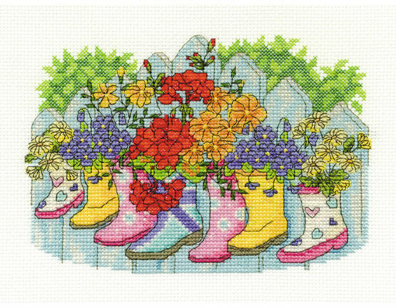 Blossoming Wellies Cross Stitch Kit