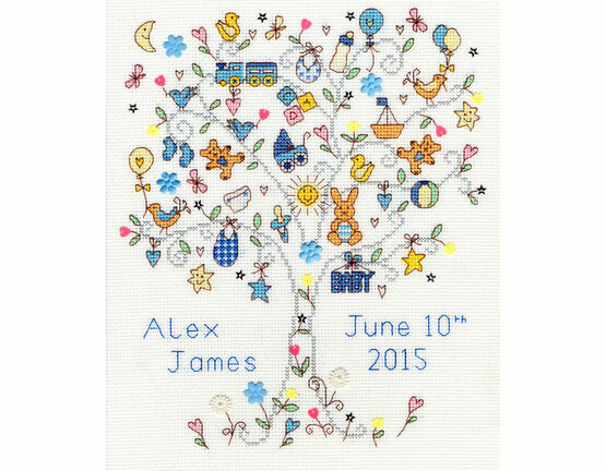Love Baby Boy Birth Sampler Cross Stitch Kit