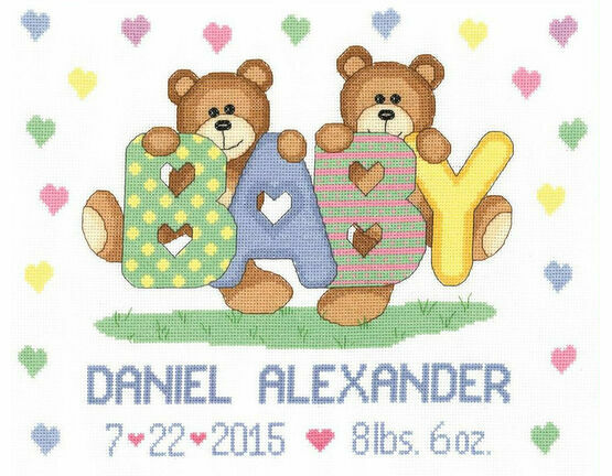 Teddy Baby Birth Announcement Cross Stitch Kit