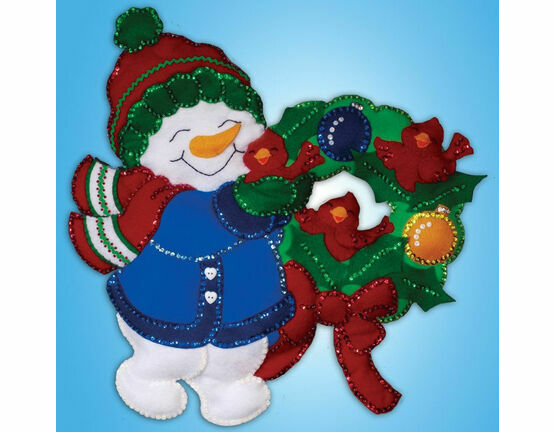 Snowman Wreath Christmas Wall Hanging Felt Kit