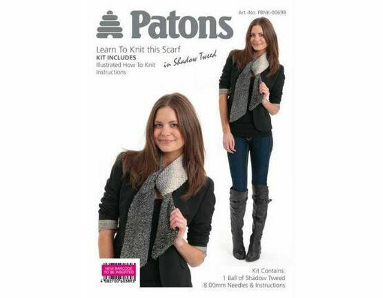 Scarf In Shadow Tweed (Grey) Knitting Kit