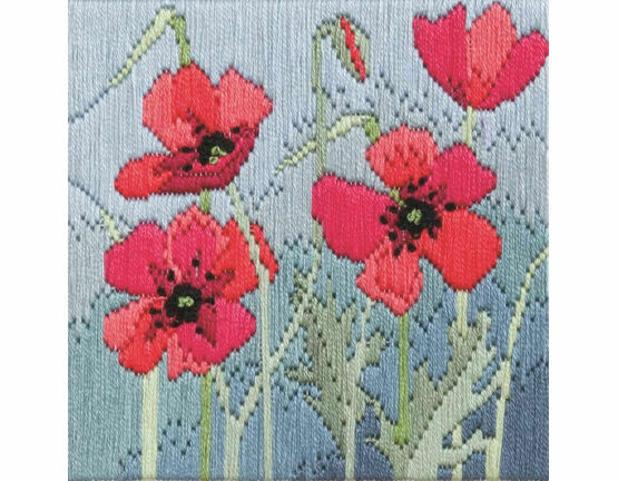 Wild Poppies Silken Long Stitch Kit