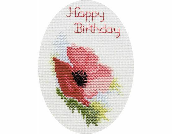 Poppy Greetings Card Cross Stitch Kit