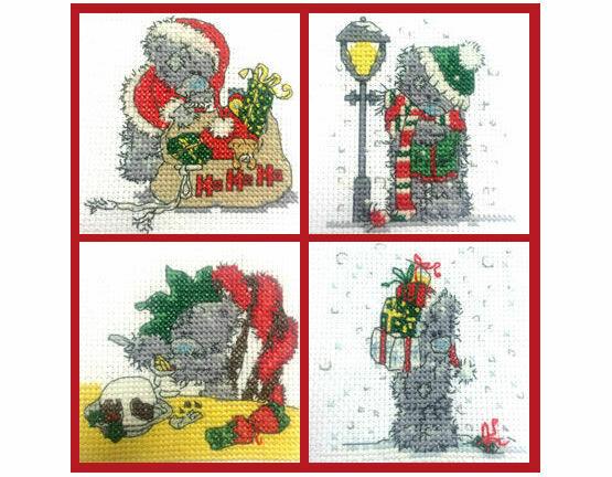 Set Of 4 Mini Tatty Teddy Christmas Cross Stitch Kits (set 2)