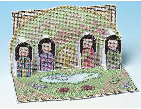 Tea Garden Deluxe 3D Cross Stitch Card Kit