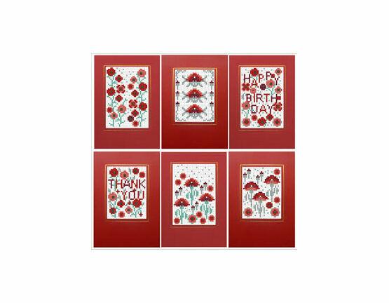 Poppies Cross Stitch Card Kits (Set of 6)