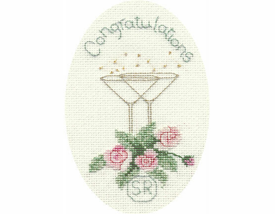 Roses & Champagne Congratulations Cross Stitch Card Kit