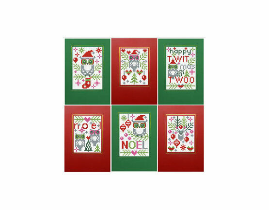 Happy Twitmas Twoo Cross Stitch Card Kits (Set of 6)