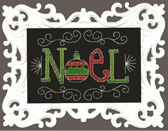 Noel Chalkboard Cross Stitch Kit With Frame