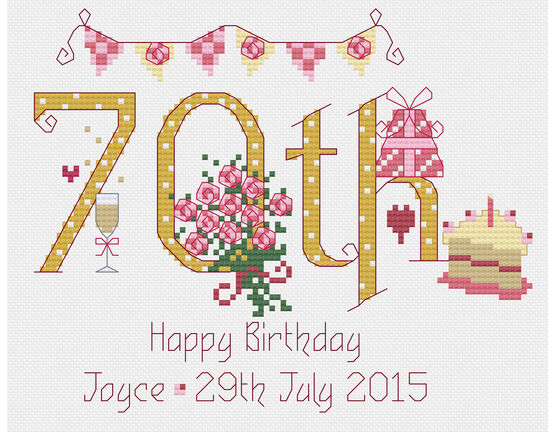 70th Birthday Cross Stitch Kit