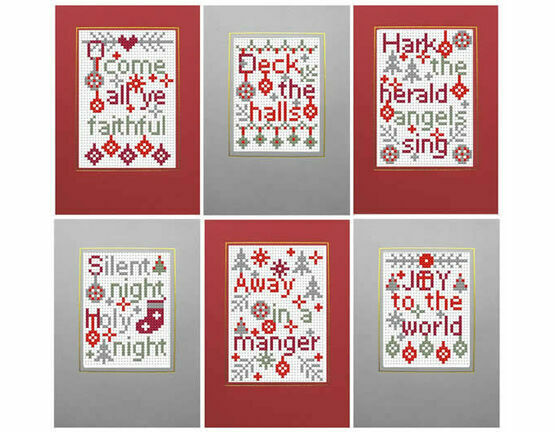 Christmas Carols 1 Cross Stitch Card Kits (Set Of 6)