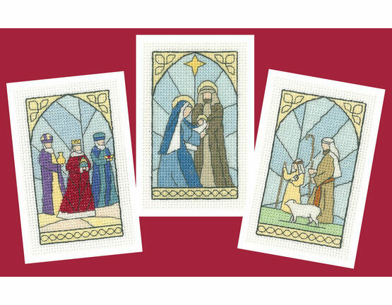 Stained Glass Christmas Card Cross Stitch Kits (Set Of 3) - (Set A)
