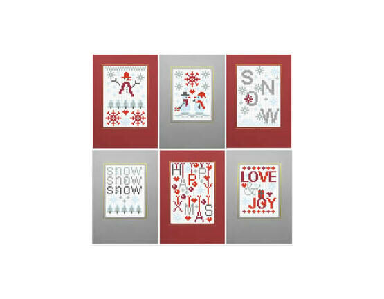 Christmas Snow Cross Stitch Card Kits (Set of 6)