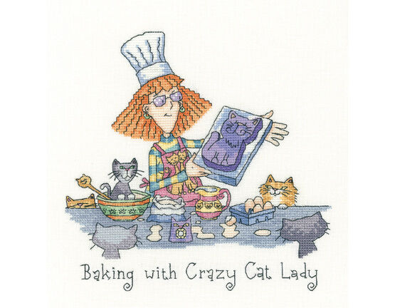Baking With Crazy Cat Lady Cross Stitch Kit