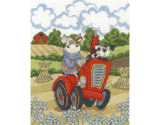 Cruising Cow Cross Stitch Kit