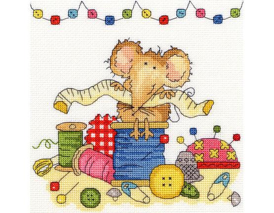 Sewing Mouse Cross Stitch Kit