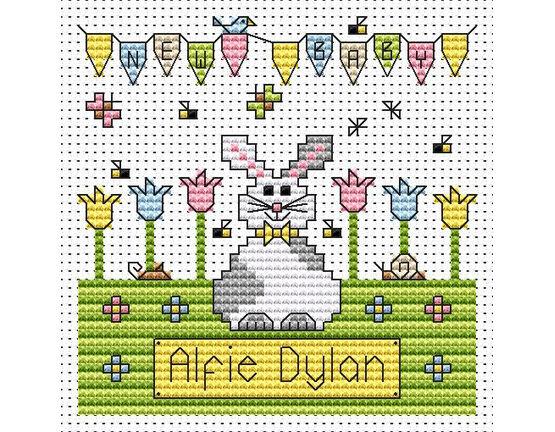 New Baby Bunny Cross Stitch Card Kit
