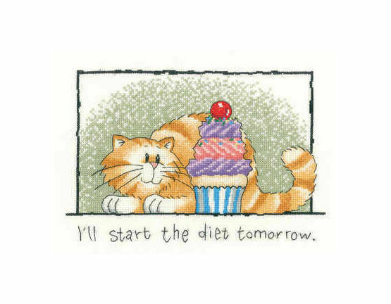 Diet Tomorrow Cat Cross Stitch Kit
