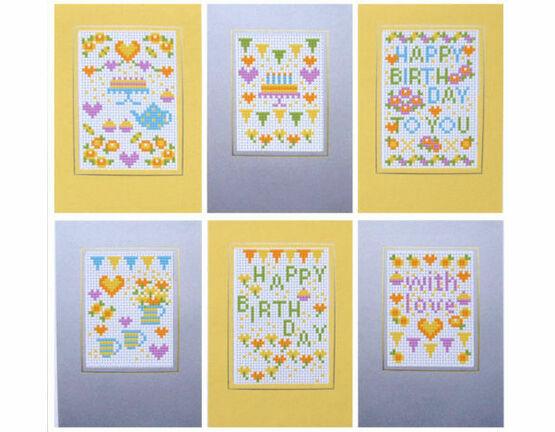 Happy Birthday Yellow Cross Stitch Card Kits (set of 6)