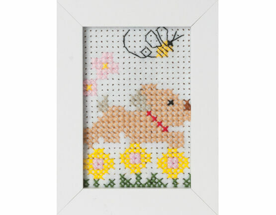 Dog Felt Cross Stitch Kit With Frame