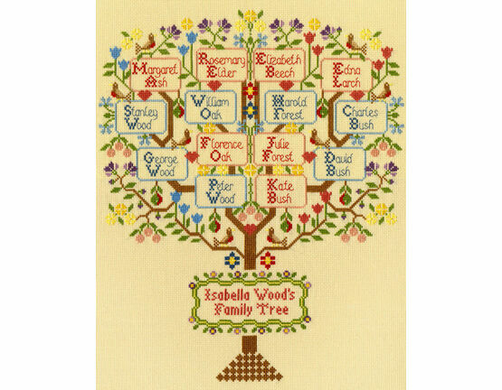 Traditional Family Tree Sampler Cross Stitch Kit