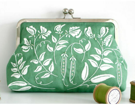 Pea Green Embroidered Clutch Bag Kit