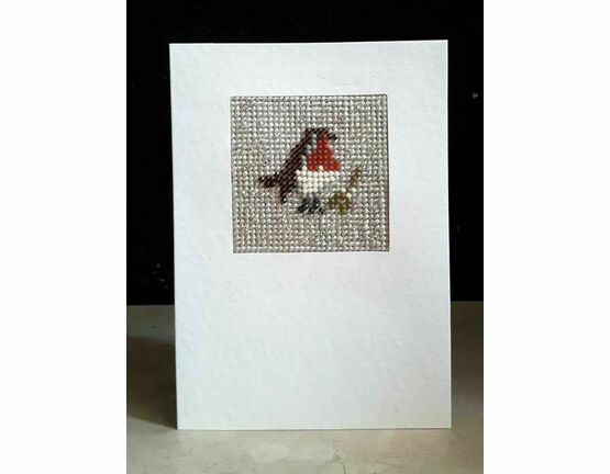 Stanley The Robin Mini Beadwork Embroidery Christmas Card Kit