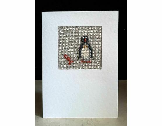 Bob The Penguin Mini Beadwork Embroidery Card Kit