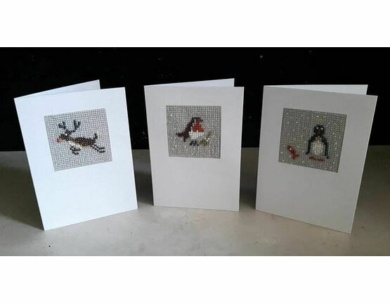 Christmas Trio Mini Beadwork Embroidery Christmas Card Kits (Rudolf, Stanley & Bob)