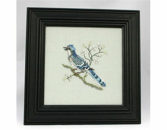 East Indian Blue Jay Beadwork Embroidery Linen Kit