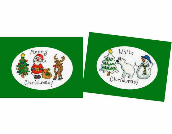 Merry Christmas & White Christmas - Set of 2 Cross Stitch Card Kits