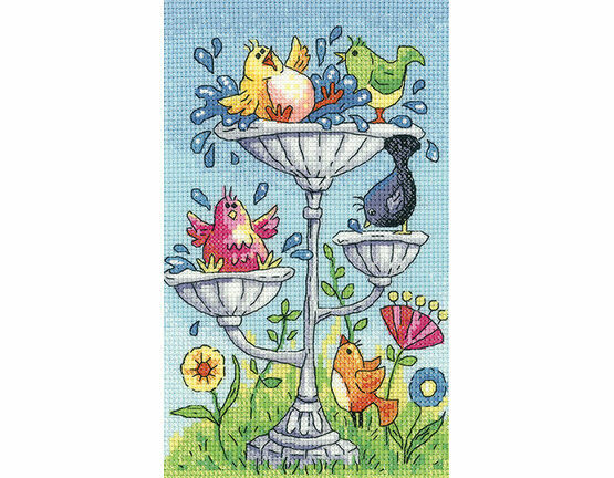 Bird Bath Cross Stitch Kit