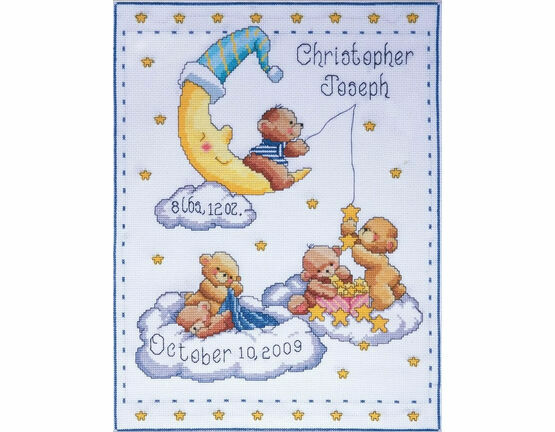 Heavenly Bears Birth Sampler Cross Stitch Kit