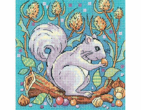 Grey Squirrel Cross Stitch Kit