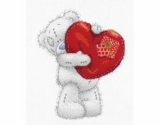 Tatty Ted Heart Printed Cross Stitch Kit